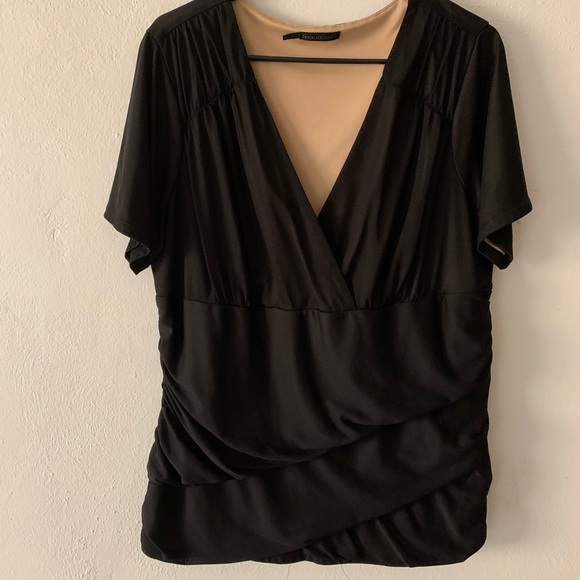 Maurices Tops - Black cross cross top with diagonal ruched panels